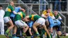 Tempers flare between the players during the final moments of the Kerry v Dublin game at Fitzgerald Stadium, Killarney. Photograph: Cathal Noonan/Inpho