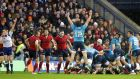 Italy's players celebrate as Irish referee George Clancy awards them a penalty try at the end of their Six Nations  game with Scotland in Murrayfield. Photograph: Morgan Treacy/Inpho