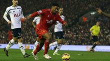 Liverpool's Jordan Ibe will be out for four weeks after injuring his knee ligaments. (Photograph: PA)