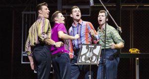 The gang in full voice: Lewis Griffiths, Tim Driesen, Sam Ferriday and Stephen Webb in Jersey Boys. Photograph: Helen Maybanks