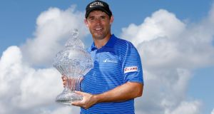Padraig Harrington poses with the trophy after winning The Honda Classic at PGA National Resort & Spa - Champion Course in Palm Beach Gardens, Florida. Photograph: Sam Greenwood/Getty Images.