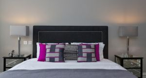 Bedroom after staging: all bed-linen should be perfectly ironed, use white if possible as it's contemporary and fresh