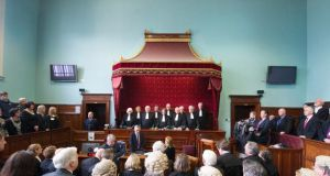 Chief Justice Susan Denham adresses the court as for the first time the Supreme Court sat outside of Dublin. Photograph: Provision