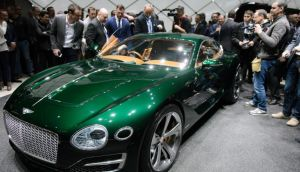 The Bentley EXP 10 Speed 6 Concept at the motor show in Geneva. Photograph:  Martial Trezzini/Keystone