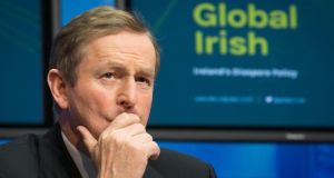 Taoiseach Enda Kenny: 'Emigration has a devastating impact on our economy as we lose the input of talent and energy. We need these people at home. And we will welcome them.' Photograph: Gareth Chaney/Collins