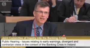"Alan Ahearne, a former special advisor to the late Minister for Finance Brian Lenihan has told the banking inquiry that he ""expressed concern"" about data from the Department of the Environment that showed that one in three new homebuyers in 2006 took out a 100 per cent mortgage."