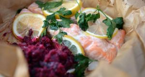 Baked Salmon & Beetroot Mash