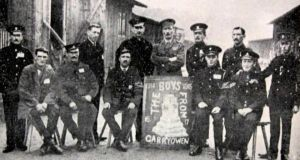 A group of Irish men from Garryowen, Co Limerick, members of the British army,  at the Giessen POW camp during the first World War.