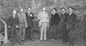 Victor Plarr, Thomas Sturge Moore, William Butler Yeats, Wilfrid Scawen Blunt, Ezra Pound, Richard Aldington, and F. S. Flint at the 'peacock dinner'. Photograph: Fitzwilliam Museum, Cambridge
