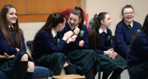 Larkin College students look on during rehearsals. Photograph: Dara Mac Dónaill