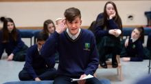 Aivis Kerans of Larkin Community College rehearsing for the students' play, The Girl With No Name. Photograph: Dara Mac Dónaill