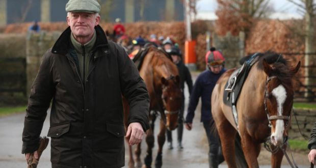 72a40109babe Willie Mullins at the gallops at his Closutton headquarters in Carlow. He  will bring a
