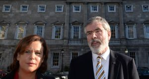 Sinn Féin's Mary Lou McDonald and Gerry Adams were among the party members at the January meeting with American businessmen.  Photograph: Dara Mac Donaill