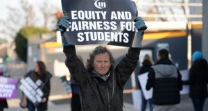 Jimmy Kelly, TUI secondary school teacher at Newpark Comprehensive School in Blackrock, picketing in January against planned junior cycle reforms. Photograph: Dara Mac Donaill / The Irish Times