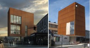 From left, a digital montage of how architects Donaghy and Dimond envisaged the West Cork Arts Centre; and the centre as it appears now
