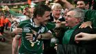 Brian O'Driscoll celebrates winning the 2009 Grand Slam with his father Frank. O'Driscoll was represented by his father for much of his career and Frank O'Driscoll has given some advice to Tom Henshaw. Photograph: Morgan Treacy/Inpho