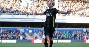 Harry Kane scored twice for Spurs in their 2-1 win over QPR at Loftus Road. Photograph: Reuters