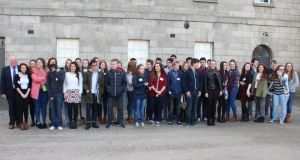 Some of the students who will be telling the stories of Irish soldiers lost during the Battle of the Somme in World War I. Photograph: Ronan McGreevy