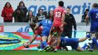 Scarlets vs Leinster - Scarlets' John Barclay scores his side's first try along the way to victory. Photograph: Kevin Barnes/Inpho