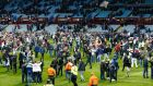 Aston Villa fans on the pitch after their side's 2-0 FA Cup quarter-final win over West Bromwich Albion. Photograph: Reuters