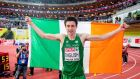 Ireland's Mark English celebrates winning the silver medal in the 800m final at the European Indoor Athletics Championships at the  O2 Arena in Prague. Photograph:  Morgan Treacy/Inpho