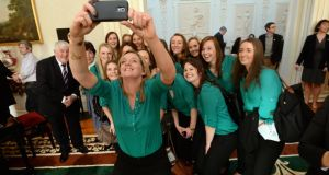 Members of the Irish Women's Hockey team pictured at Áras an Uachtaráin where they met President Micheal D Higgins and his wife Sabina to celebrate International Women's Day. Photograph: Cyril Byrne/THE IRISH TIMES
