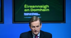 "Taoiseach Enda Kenny: ""My commitment to the Irish people is that, under this Government, we are never going back."" Photograph: Dara Mac Dónaill/The Irish Times"