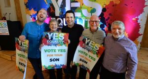 At the launch in Dublin of the Yes Equality campaign urging a Yes  vote in the marriage equality referendum were (from left), Joe Hayes,  Anne McGlynn,   Ian McGlynn, Joe Hayes  and John McGlynn. Photograph: Cyril Byrne/The Irish Times