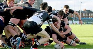 Roscrea's Dan Trayers scores his side's second try against Newbridge during yesterday's semi-final at Donnybrook. Photo: Ryan Byrne/Inpho