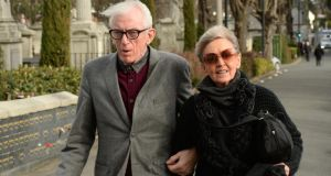 Shay Healy and his wife, Dymphna Healy, at the funeral of Jim McCann. Photograph: Cyril Byrne