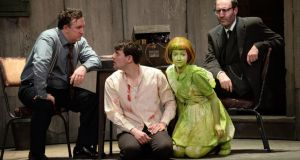 Gary Lydon, Peter Campion, Rosa Mikela and David Mc Savage in Decadent's production of The Pillowman by Martin Mc Donagh. Photograph: Cyril Byrne