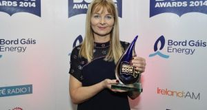 Mary Costello with her Eason Novel of the Year for Academy Street at last year's Bord Gáis Energy Irish Book Awards.Photograph: Aidan Crawley