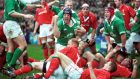 Paul O'Connell celebrates a try on his Ireland debut against Wales in the  2002 Six Nations. Photograph: INPHO/Allsport