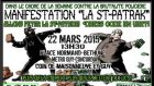 A screengrab from the COBP website shows the poster for the protest which reads 'St Patrak Demonstration', which is a play on the French word matraque, or police baton.