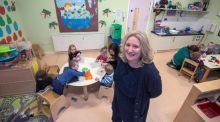 Catherine O'Brien in the toddler room in the Island Key Childcare and Community Service, East Road Dublin 3. Photograph: Brenda Fitzsimons