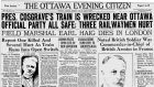 Close shave: the Ottawa Evening Citizen of January 30th, 1928, reports on the crash; WT Cosgrave helped with rescue work after his train derailed in a snowstorm