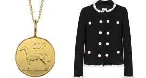 Gold plated twenty pence €156 katiemullally.co.uk Bone Detail Jacket €750 Moschino Cheap and Chic at Brown Thomas