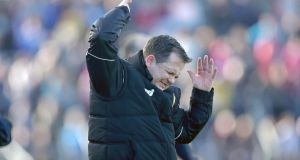 Clare manager Davy Fitzgerald: his team will be looking for a first league win of the season when they host Dublin. Photo: Donall Farmer/Inpho