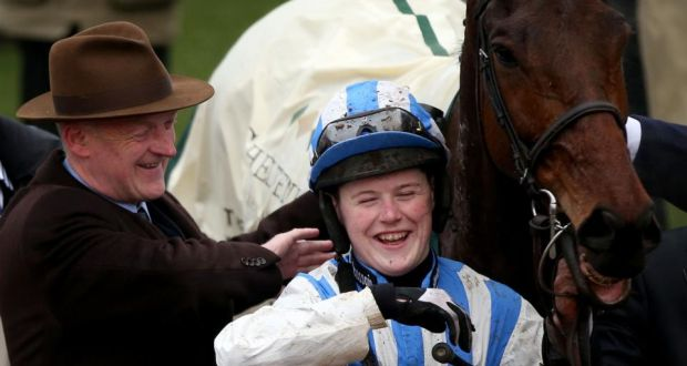 c01809dce9f8 Trainer Willie Mullins shares a joke with jockey Luke Dempsey after  Killultagh Vic s victory in the