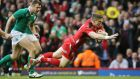 Scott Williams scores for Wales in the second half at the Millennium Stadium. Photograph: Paul Childs/Reuters