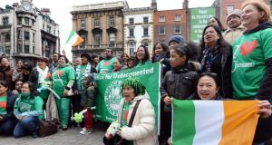 Campaign co-ordinator Helen Lowry, of the Migrant Rights Centre Ireland (MRCI) said  regularising undocumented migrants in Ireland would strengthen the Government's case for the Irish in the US. Photograph: Eric Luke/The Irish Times.