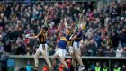 Pádraic Maher claims the sliotar ahead Tipperary team-mate  Ronan Maher and Kilkenny's  Walter Walsh and Richie Hogan during the Allianz Hurling League Division 1A match at  Semple Stadium. Photograph: Donall Farmer/Inpho