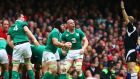 Ireland's Devin Toner, Sean O'Brien and Paul O'Connell react to referee Wayne Barnes's decision. Photograph: Cathal Noonan/Inpho