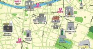 A map to Dublin's events and festival locations.
