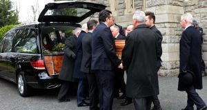 The funeral of radio DJ Tony Fenton, at Donnybrook, Dublin. Photograph: Eric Luke
