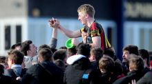 Ardscoil Rís outhalf Conor Fitzgerald celebrates after kicking the winning penalty against PBC at Musgrave Park. Photograph: Ryan Byrne/INPHO