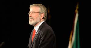 Sinn Féin leader Gerry Adams has accused the US government of behaving bizarrely after a meeting with a senior official in Washington DC was postponed. Photograph: Dara Mac Donaill/The Irish Times