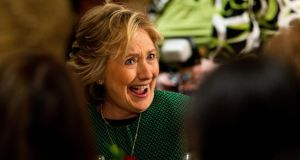 Hillary Clinton after being inducted into the 2015 Irish America Hall of Fame in New York in recognition of her role and commitment to the Irish peace process. Photograph: Andrew Gombert/EPA