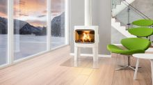 Eye-catching stove: The Norwegian designed Jotul F 305LL in white enamel is set on legs and features a large firebox