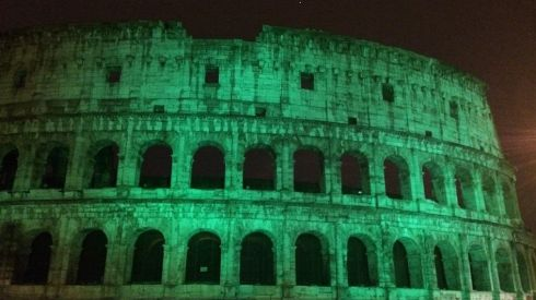 The Irish Embassy in Rome tweeted a picture of the Colosseum greened up for Paddy's Day